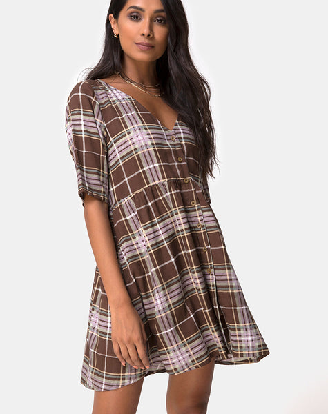 Verren Babydoll Dress in Tartan Brown by Motel