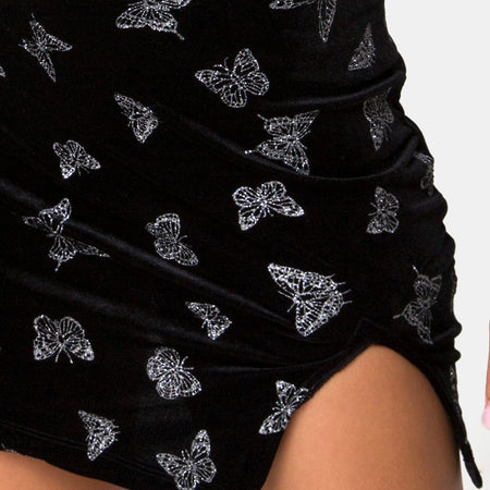 Verso Dress in Black with Glitter Butterfly by Motel