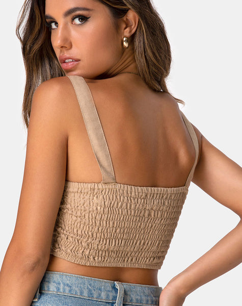 Viben Crop Top in Taupe by Motel
