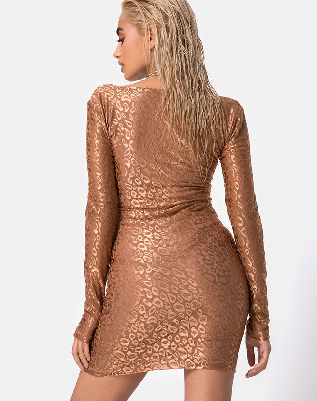 Vilan Bodycon Dress in Leopard Sheen Net Caramel by Motel