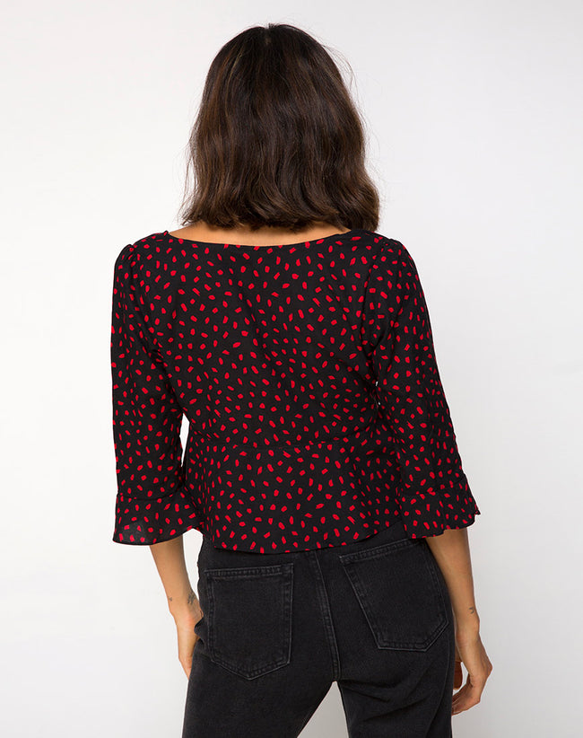 Vinequa Top in Mini Diana Dot Black and Red by Motel