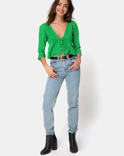 Vinequa Blouse in Mini Diana Dot Green By Motel