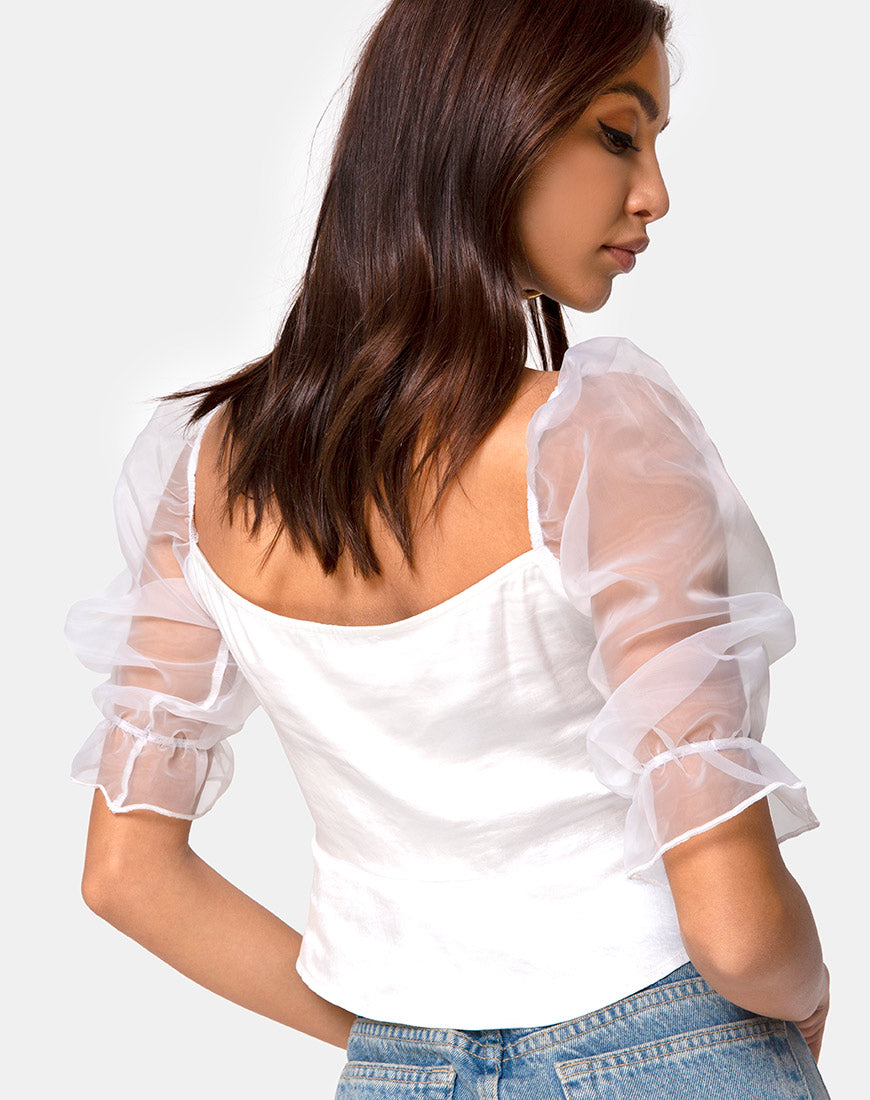 Viquela Crop Top in Organza Cream by Motel