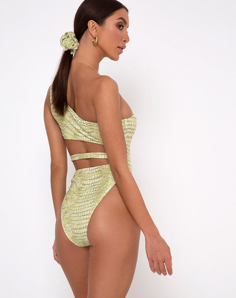 Vixie Cutout Swimsuit in Croc Green