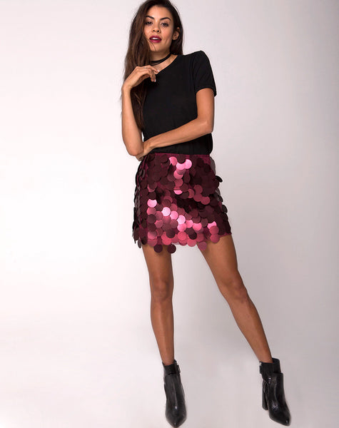 Weaver High Waisted Skirt in Rose Big Disc Sequin by Motel