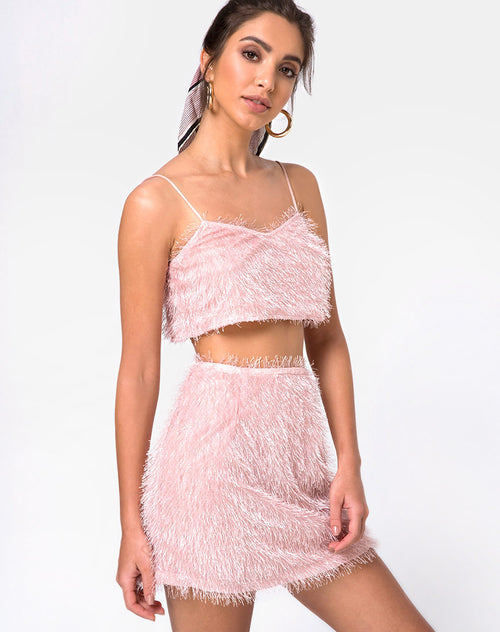 Weaver High Waist Skirt in Fringe Sugar Pink by Motel