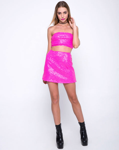 Tube With Lace Top in Mini Sequin Paris Pink