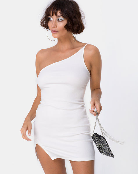4bf699767a One Shoulder Rib White Mini Dress | Sattia - Motel Rocks – motelrocks.com
