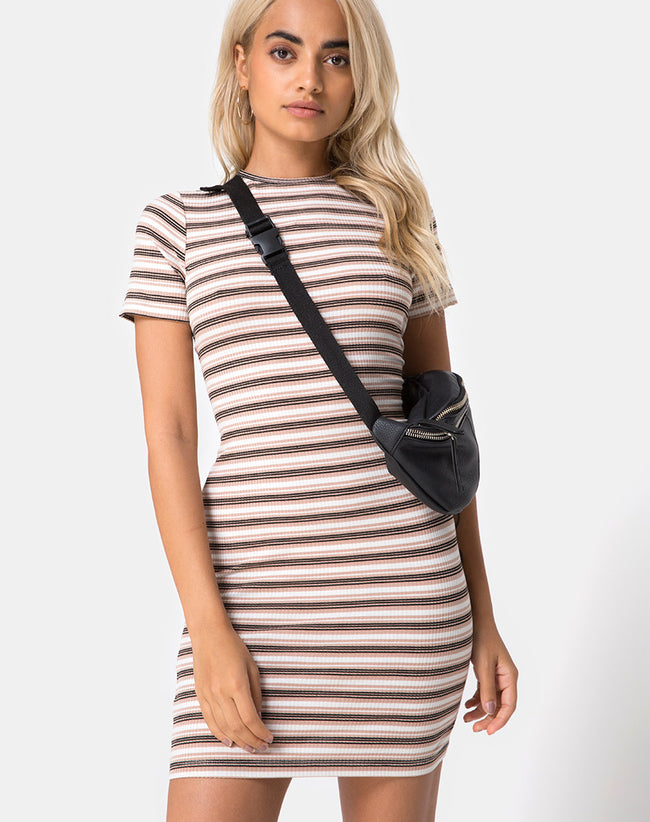 Whitley Bodycon Dress in Rib Stripe Cream Black and Tan by Motel