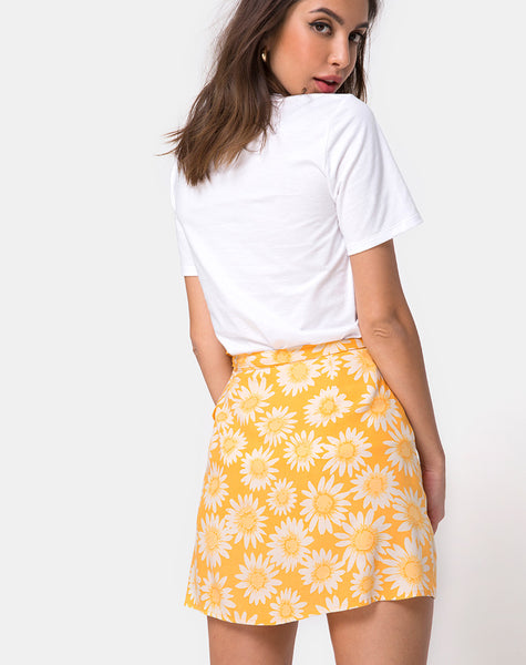 Derla Wrap Skirt in Sunkissed Floral Yellow