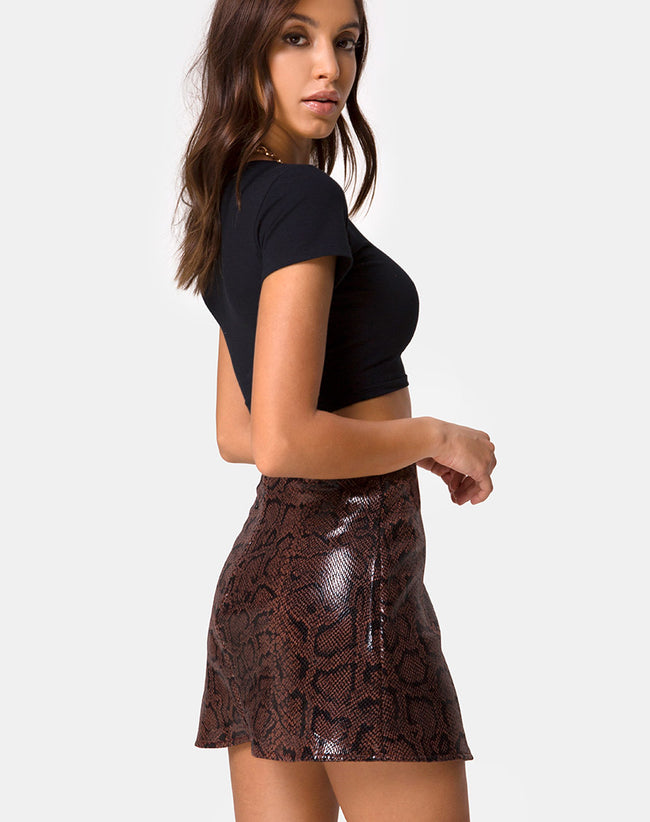 Wren Skirt in PU Snake Brown by Motel