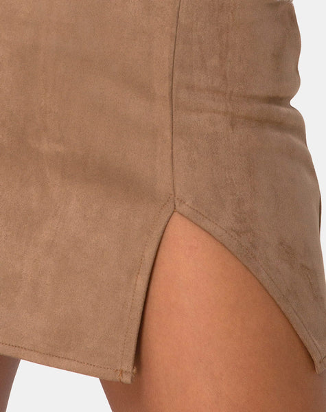 Wren Mini Skirt in Faux Suede Brown
