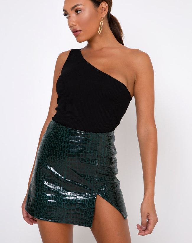 Wren Mini Skirt in Croc PU Forest Green