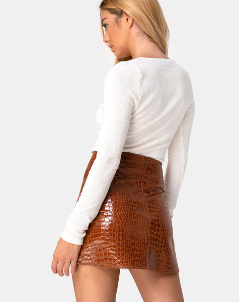 Wren Mini Skirt in PU Croco Brown by Motel