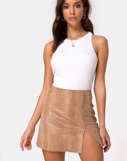 Wren Mini Skirt in PU Snake Tan