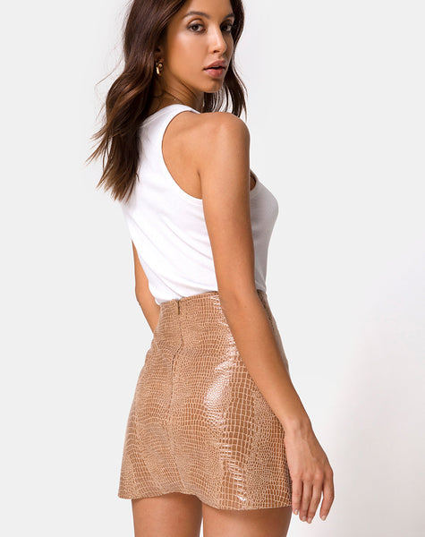 Wren Mini Skirt in PU Snake Tan by Motel