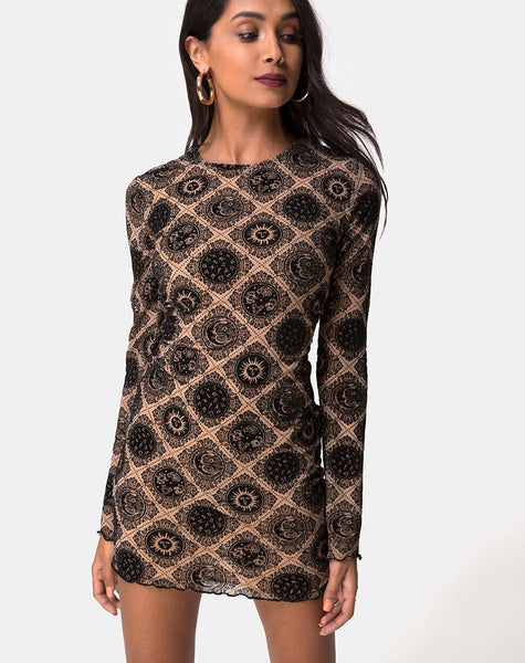 Wyanna Dress in Taupe Net with Black Sign Flock by Motel