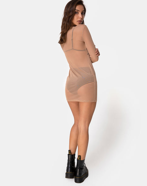 Wyatt Dress in Alchemy Net Taupe by Motel