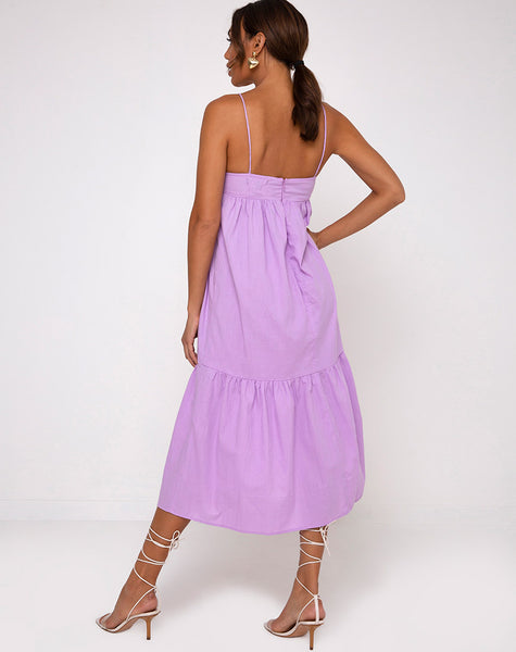 Xier Midi Dress in Lilac by Motel