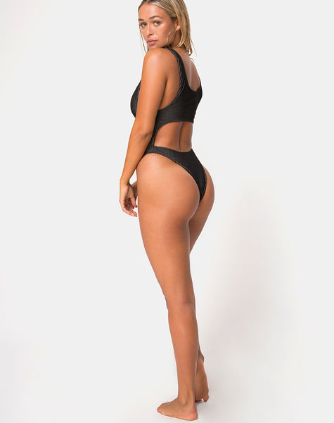 Xin Cutout Swimsuit in Needle Point Black by Motel