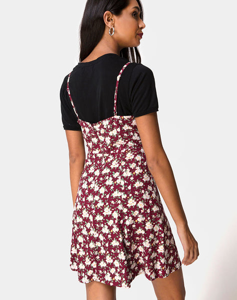 Yandra Slip Dress in Wild Fleur Maroon by Motel