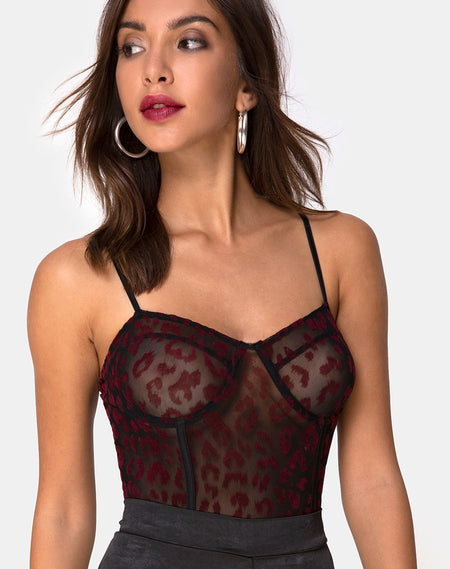 Korina Bodice in Romantic Red Rose Flock by Motel