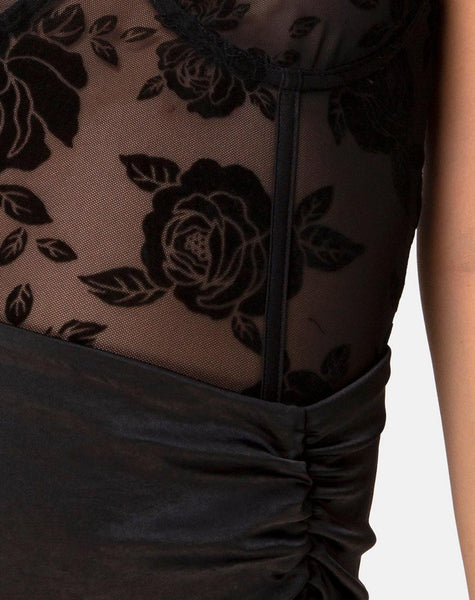 Yecal Bodice in Romantic Rose Black by Motel