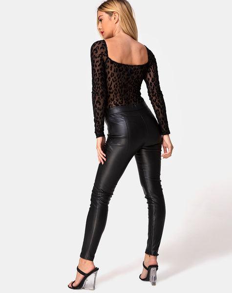 Yelica Longsleeve Bodice in Animal Net Black by Motel