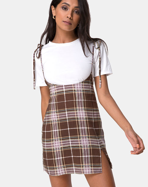 Yelca Mini Dress in Tartan Brown by Motel
