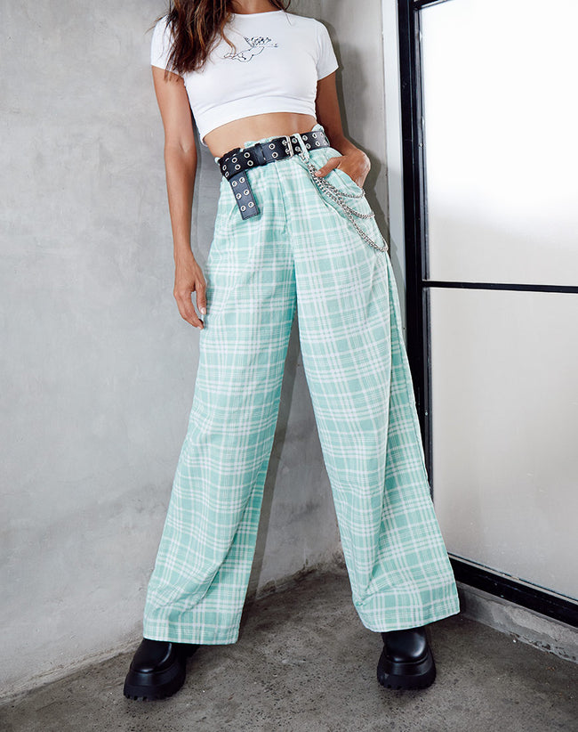 Yeva Trouser in Table Cloth Neo Mint by Motel