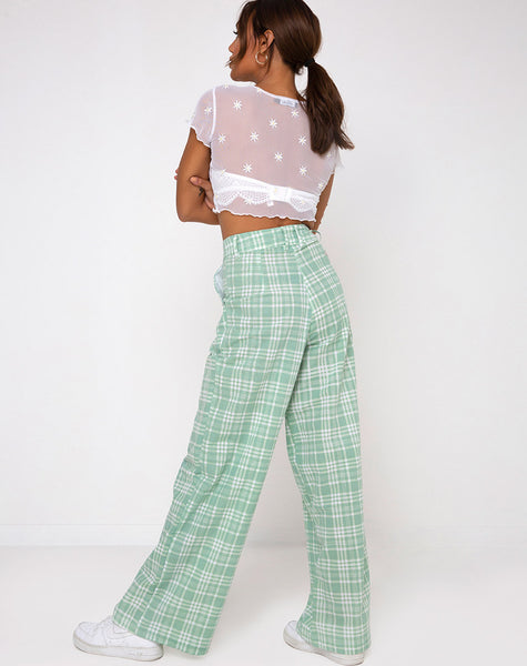 Yeva Trouser in Table Cloth Neo Mint