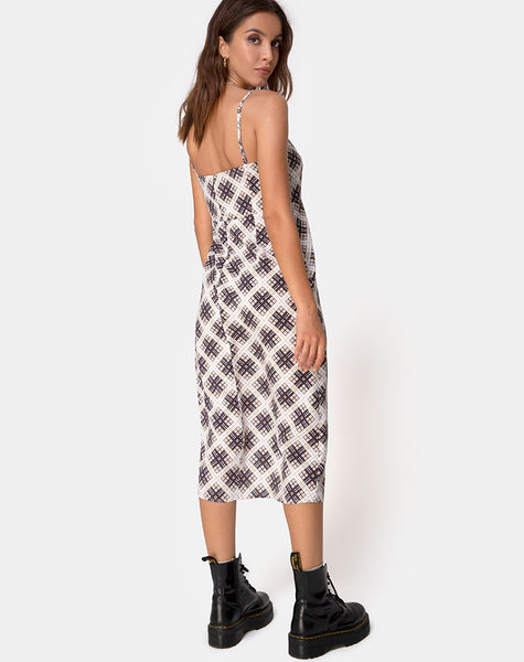 Yosha Midi Dress in Kate Check by Motel