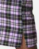Zaid Mini Skirt in Plaid Lilac by Motel