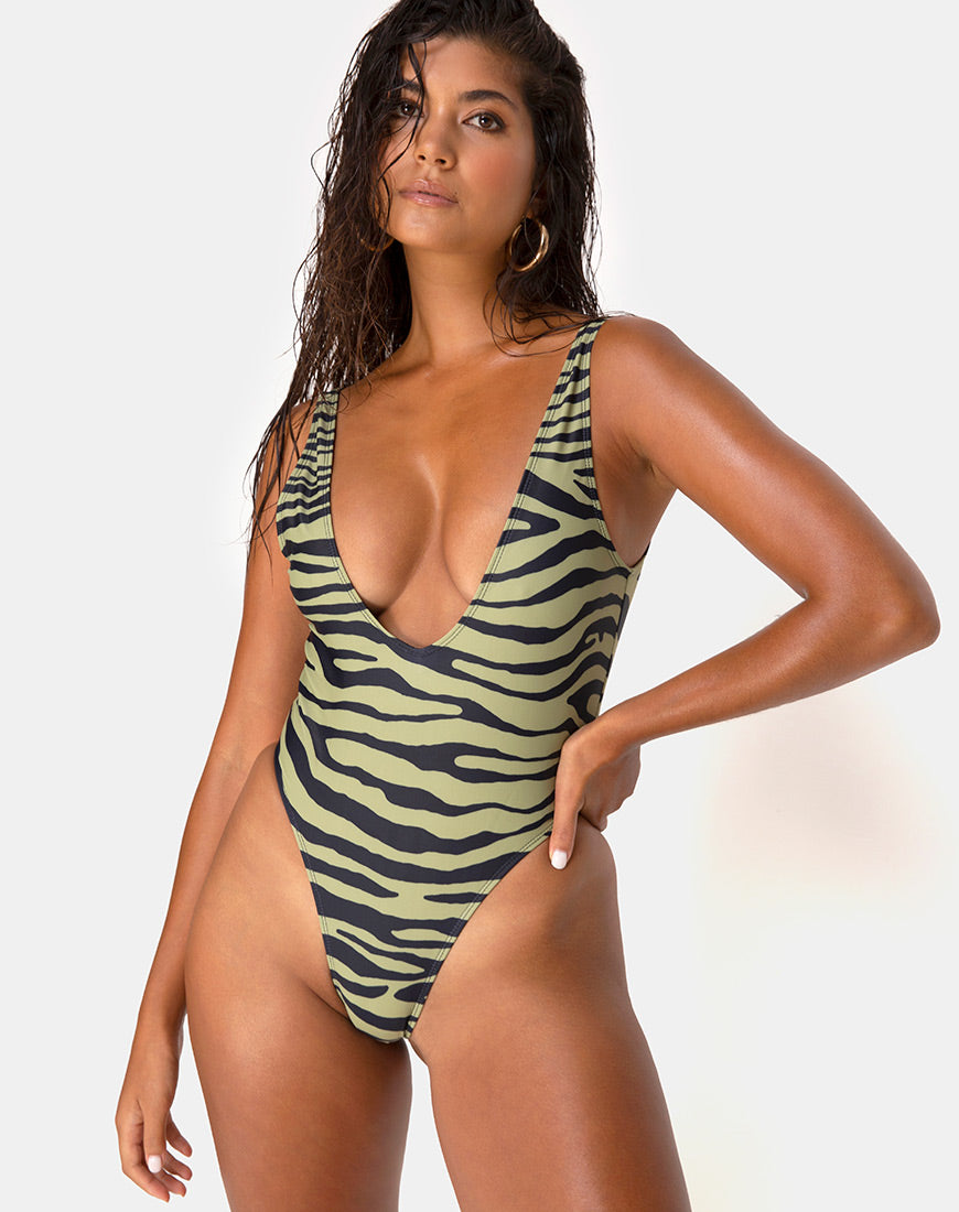 Zala Swimsuit in Tiger Khaki By Motel 8