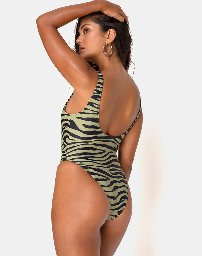 Zala Swimsuit in Tiger Khaki By Motel