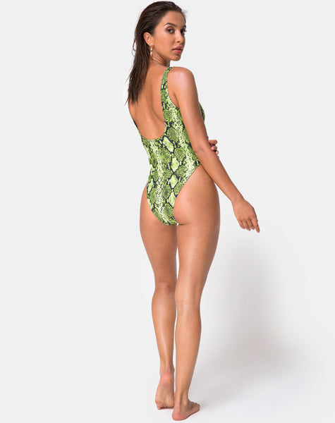 Zala Plunge Swimsuit in Slime Lime Snake by Motel