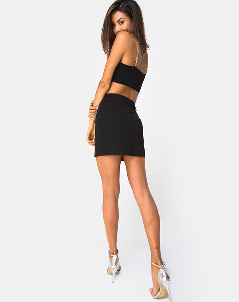 Zenda Bodycon Skirt in Black with SIlver Chain By Motel