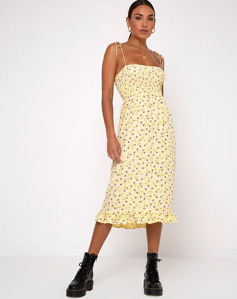Zenith Dress in Wild Flower Lemon Drop by Motel