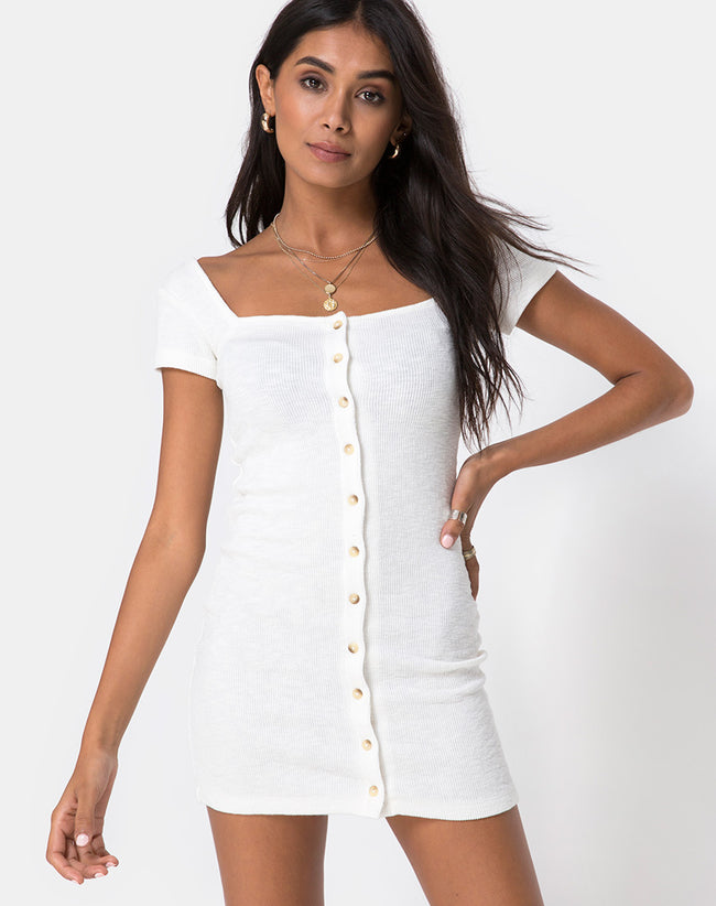 Zilena Bodycon Dress in Rib Ivory by Motel