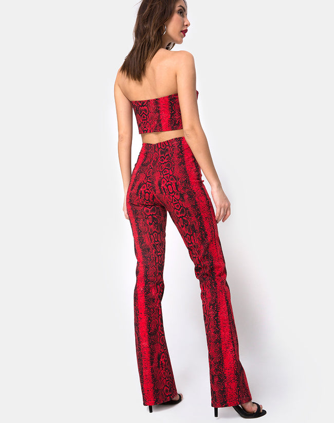 Zolia Trouser in Snake Red by Motel