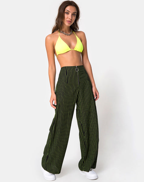 Zolipa Wide Leg Trouser in Neon Pinstripe By Motel