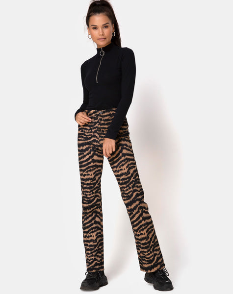 Zoven Trouser in Animal Drip Brown by Motel
