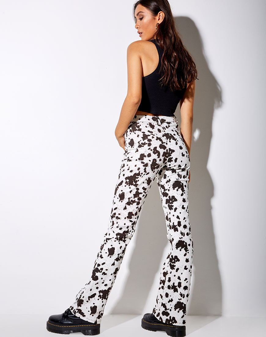 Zoven Flare Trouser in Mini Cow Black and White by Motel