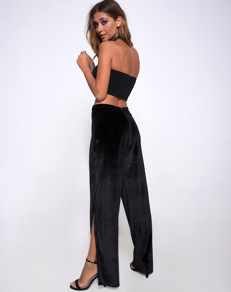Zuly Pant in Black Velvet by Motel