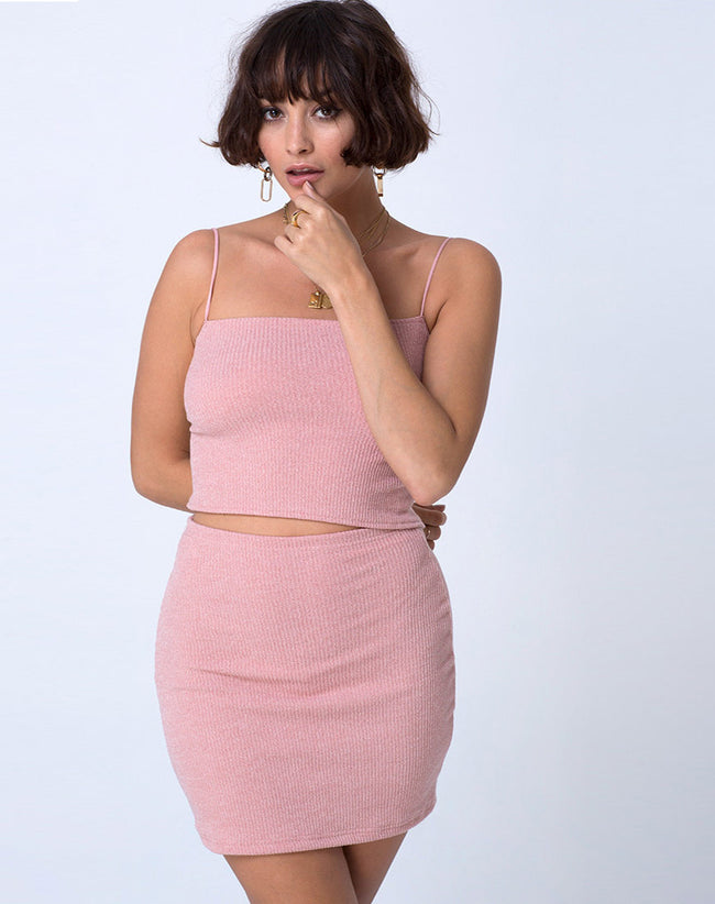 Champo Top in Crinke Rib Pink by Motel