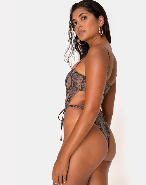 Hiwa Swimsuit in Snake Taupe by Motel