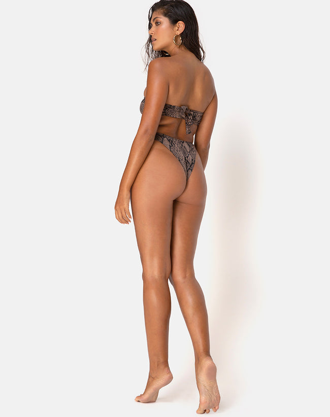 Izarla Bikini Bottom in Snake Taupe by Motel
