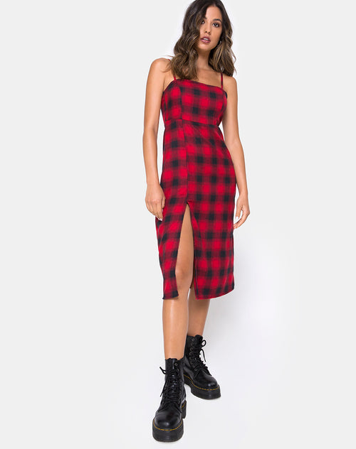 Kaoya Dress in Plaid Red and Black by Motel