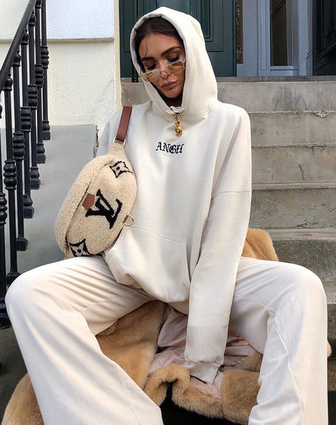 Oversize Hoody in Stone with Angel Embro by Motel