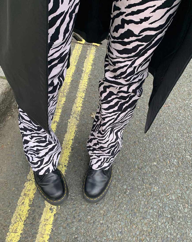 Zoven Trouser in 90's Zebra Black and White